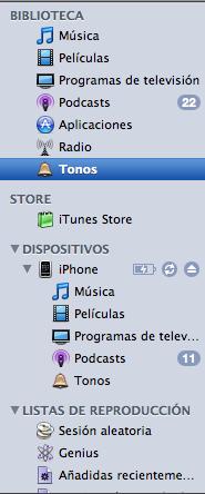 iTunes con tonos para pasar al iPhone