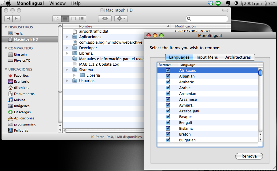 Espacio ocupado antes de usar monolingual