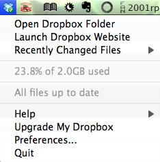 El menú de Dropbox en la barra de menús de mi Mac