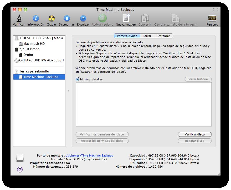 Utilidad de discos abierta mostrando mi copia de seguridad