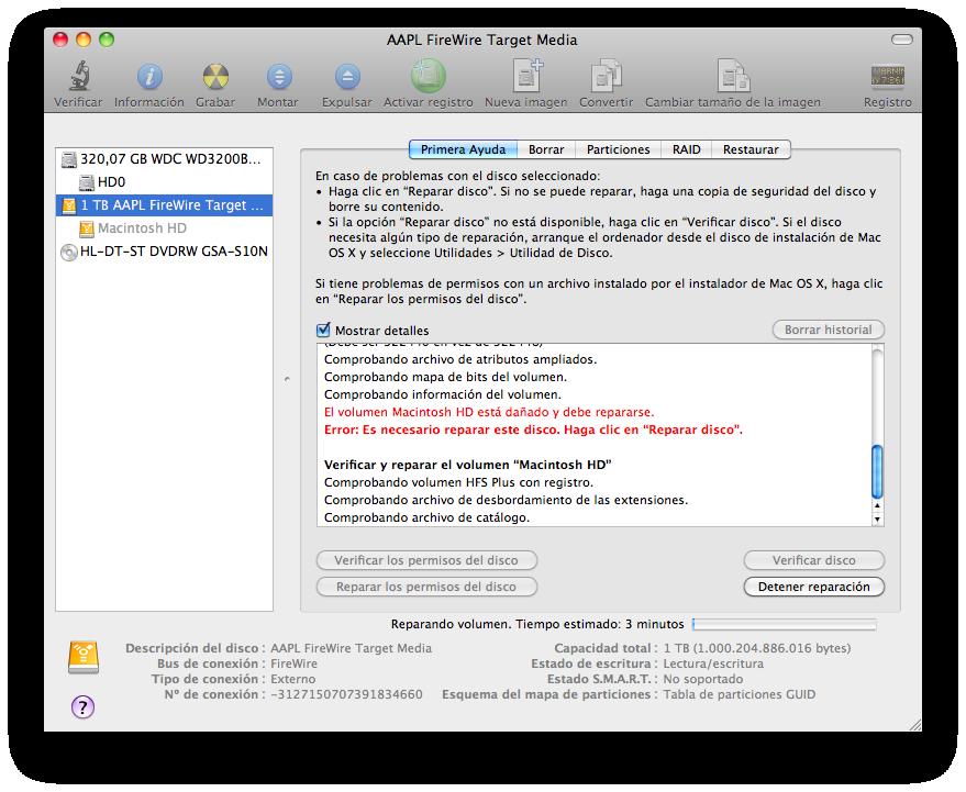 El HD de mi iMac, ya reparado, en la Utilidad de Discos de mi MBP