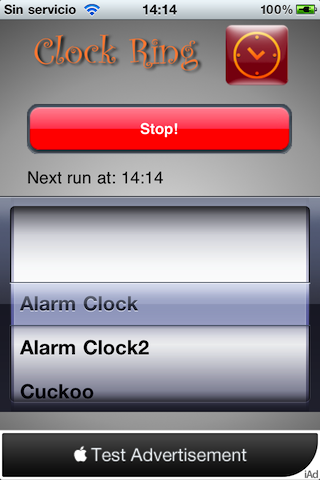 Captura de ClockRing App que NO cumple las reglas :-)