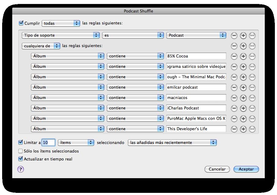 Configuración de la Lista de Reproducción