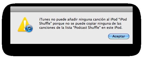 Error Shuffle 1ª generación: no soporta podcasts