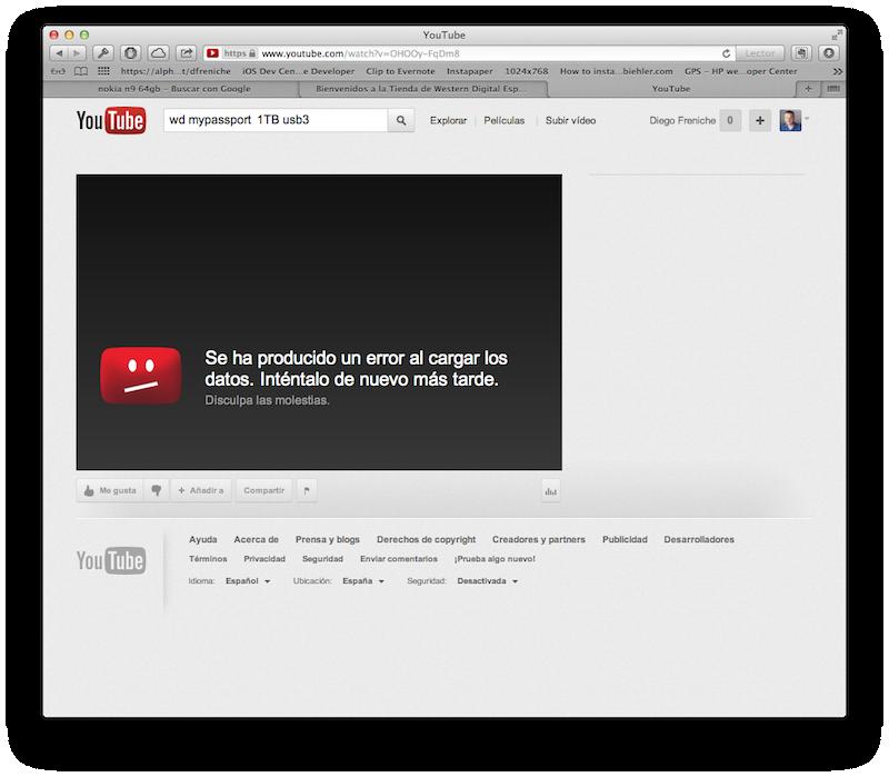 Pantalla de Youtube mostrando un mensaje de error
