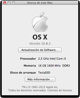 Ventana Acerca de Este Mac abierta, mostrando las características del MBP