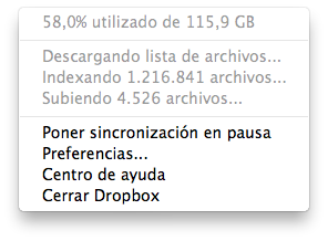 Dropbox no avanza indexando