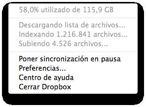 Dropbox no avanza indexando