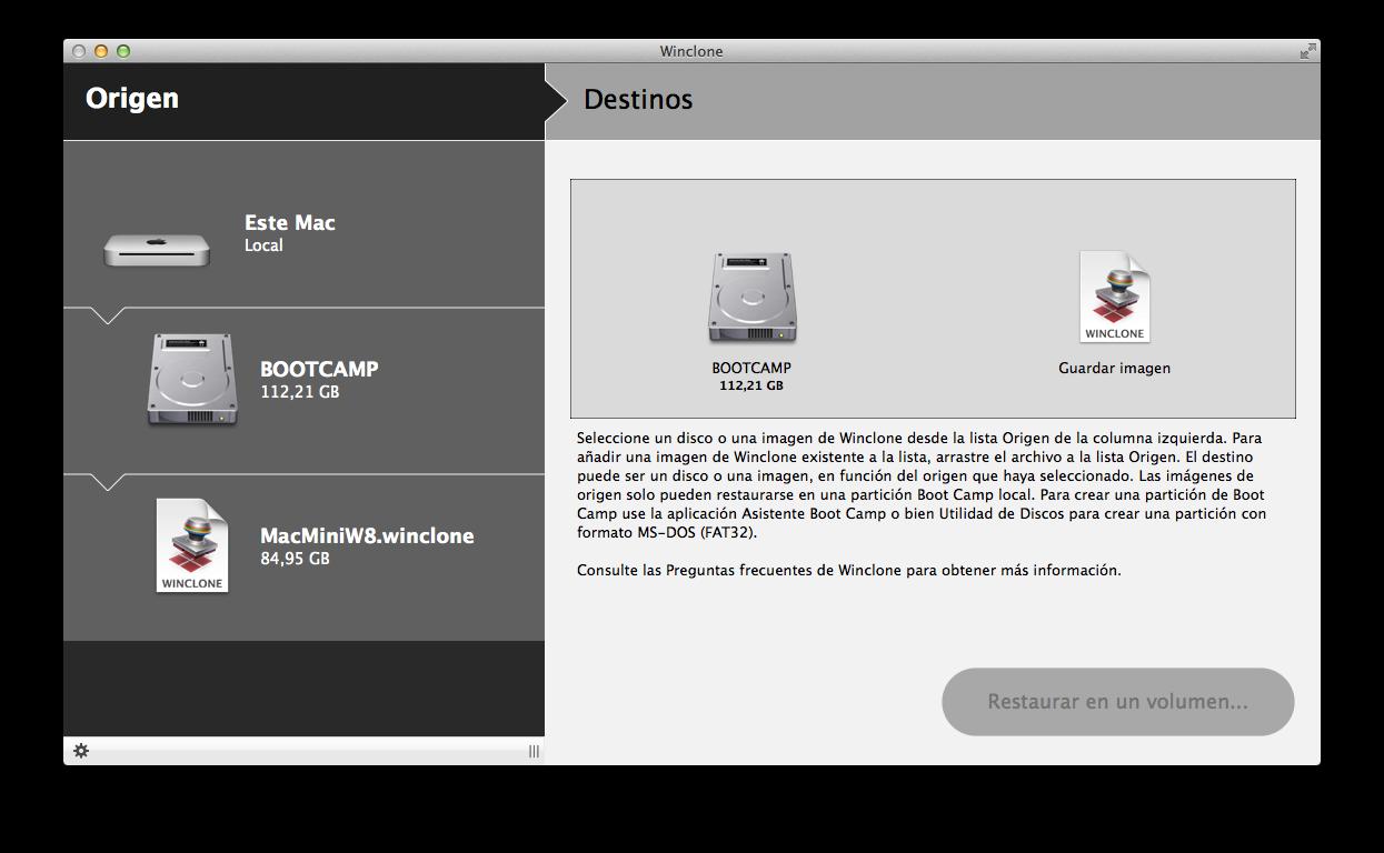 Winclone, utilidad para clonar particiones Bootcamp