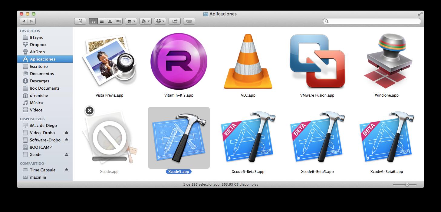 Instalando Xcode 6 tras renombrar Xcode 5