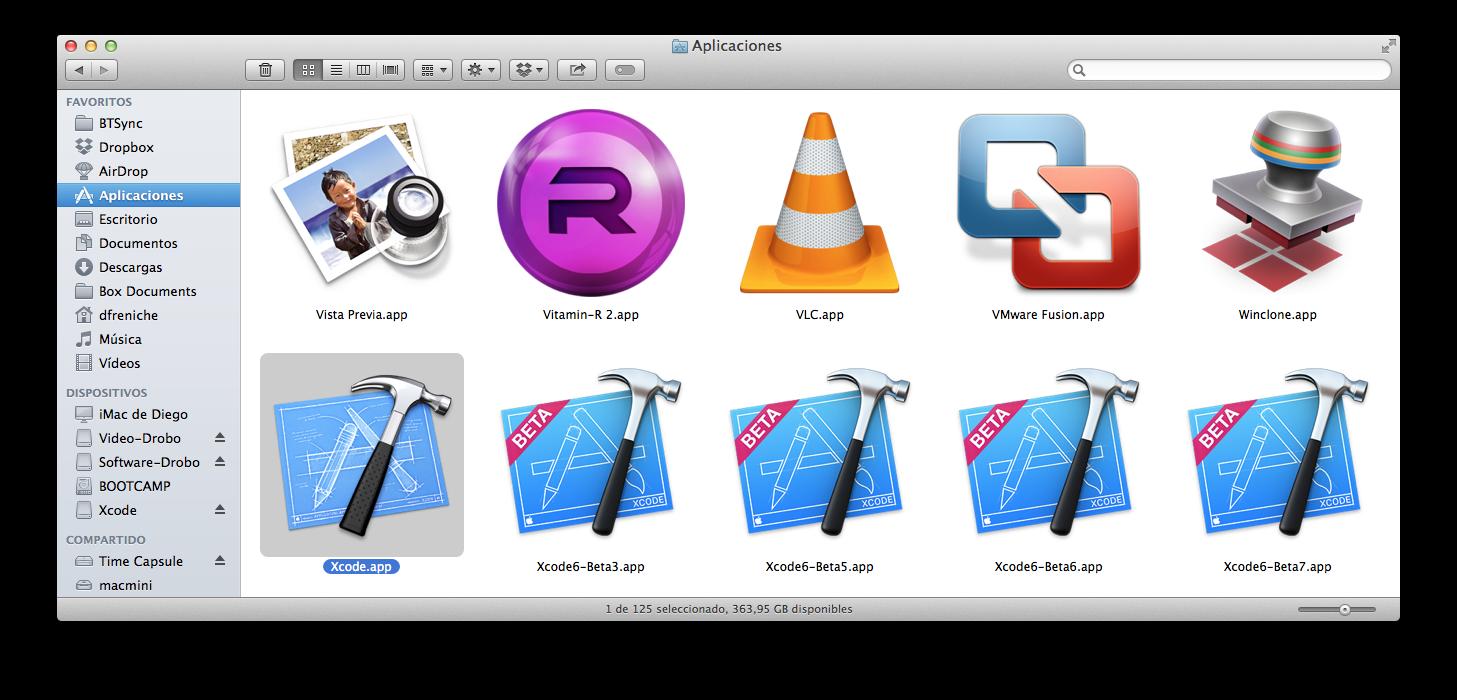 Xcode5 antes de copiar Xcode6 GM